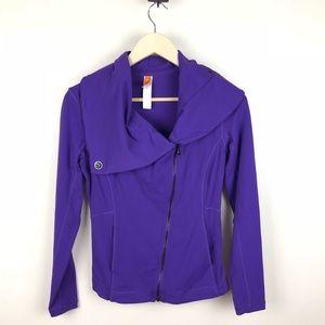 Lucy Hatha Asymmetrical Moto Jacket Coat Size XS